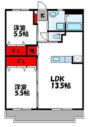 JR筑豊本線 桂川駅 徒歩19分の賃貸マンション 1階2LDKの間取り