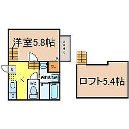 愛知県名古屋市中村区中村本町2丁目の賃貸アパートの間取り