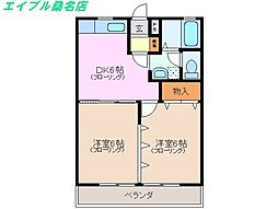 三重県桑名市大字額田の賃貸アパートの間取り