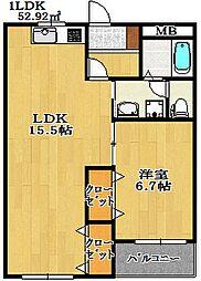 エスポアール海神NO2[1階]の間取り