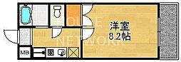 京都府京都市山科区御陵鴨戸町の賃貸マンションの間取り