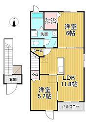 サンライズ KM[2階]の間取り