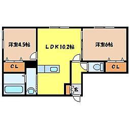 北海道札幌市白石区米里五条1丁目の賃貸アパートの間取り