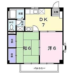 京阪本線 西三荘駅 徒歩21分の賃貸アパート 2階2DKの間取り