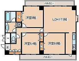 兵庫県神戸市中央区熊内町1丁目の賃貸マンションの間取り