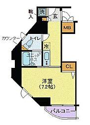 リクレイシア三田[802号室]の間取り