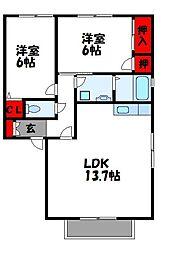 JR鹿児島本線 新宮中央駅 徒歩17分の賃貸アパート 2階2LDKの間取り