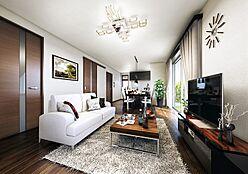 (リビングイメージ)ご家族の憩いの場所である大切なリビング。床暖房付で1年中過ごしやすい空間です。