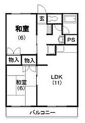 ビレッタ蜆塚N[1-2号室]の間取り