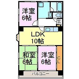 愛知県半田市宮本町3丁目の賃貸マンションの間取り
