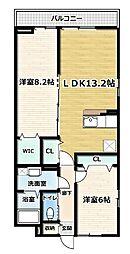 アジュール京田辺 II 1階2LDKの間取り