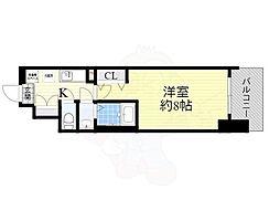 Osaka Metro御堂筋線 大国町駅 徒歩1分の賃貸マンション 8階1Kの間取り