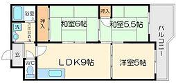 サンシャインコート北徳[4階]の間取り
