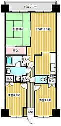 deux ローズレイアA棟[104号室]の間取り
