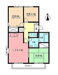 神奈川県伊勢原市高森6丁目の賃貸アパートの間取り
