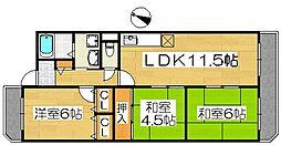 エクシード上野芝[301号室]の間取り