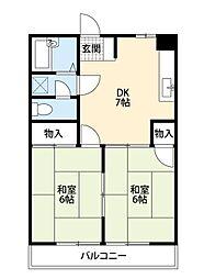 福岡県北九州市八幡西区引野3丁目の賃貸マンションの間取り