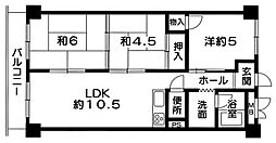 兵庫県加古川市平岡町二俣の賃貸マンションの間取り