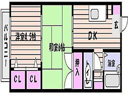 兵庫県神戸市東灘区御影中町1丁目の賃貸アパートの間取り