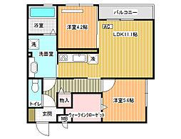 大阪府八尾市曙川東6丁目の賃貸アパートの間取り