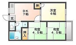 岡山県岡山市南区千鳥町の賃貸アパートの間取り