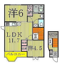 千葉県我孫子市湖北台9丁目の賃貸アパートの間取り