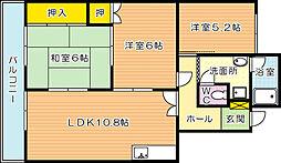 福岡県北九州市小倉南区若園2丁目の賃貸マンションの間取り