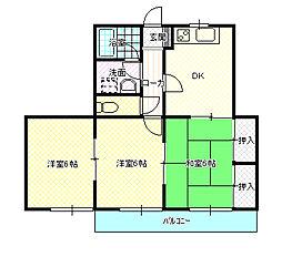 サンライズ シライシ[2階]の間取り