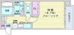 JR仙山線 東北福祉大前駅 徒歩13分の賃貸マンション 3階1Kの間取り