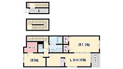 JR加古川線 滝野駅 徒歩11分の賃貸アパート 3階2LDKの間取り