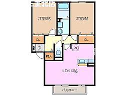 三重県桑名市東正和台4丁目の賃貸アパートの間取り