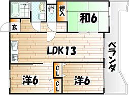サンライフ浅香[11階]の間取り