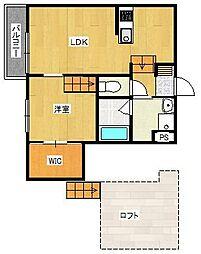 JR鹿児島本線 香椎駅 徒歩12分の賃貸アパート 2階1LDKの間取り