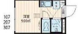 西武新宿線 中井駅 徒歩1分の賃貸マンション 地下3階ワンルームの間取り