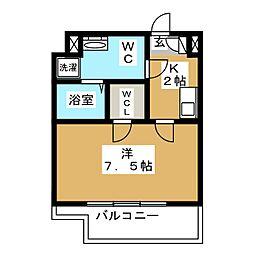 CREVISTA蒲田II 6階1Kの間取り