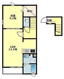 JR東海道本線 幸田駅 徒歩13分の賃貸アパート 2階1LDKの間取り