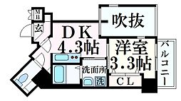 JR東海道・山陽本線 三ノ宮駅 徒歩7分の賃貸マンション 6階1DKの間取り