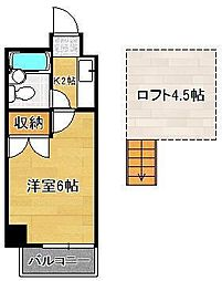 ロイヤルシャトー黒崎 4階1Kの間取り