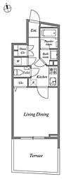 JR山手線 恵比寿駅 徒歩12分の賃貸マンション 1階1Kの間取り