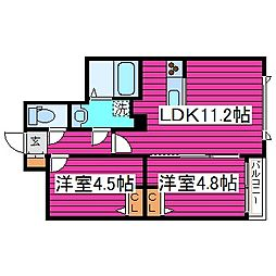 北海道札幌市東区北三十四条東6丁目の賃貸マンションの間取り