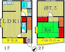 [テラスハウス] 千葉県松戸市栄町1丁目 の賃貸【/】の間取り