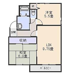 ウィンドパークB[2階]の間取り