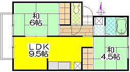 茨城県守谷市松並の賃貸アパートの間取り
