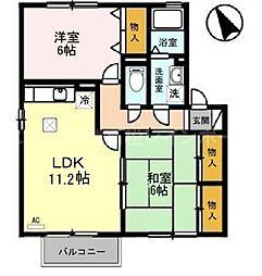 香川県高松市檀紙町の賃貸アパートの間取り