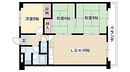 愛知県名古屋市瑞穂区佐渡町1丁目の賃貸マンションの間取り
