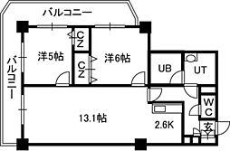 PRIME URBAN札幌 RIVER FRONT[2807号室]の間取り
