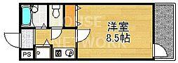 京都府京都市左京区松ケ崎雲路町の賃貸マンションの間取り