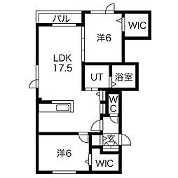 JR学園都市線 新川駅 徒歩7分の賃貸アパート 2階2LDKの間取り