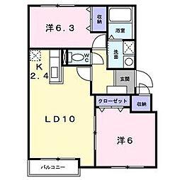 プロムナードB(東茨戸)[202号室]の間取り