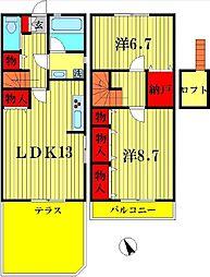 [テラスハウス] 千葉県松戸市五香8丁目 の賃貸【千葉県 / 松戸市】の間取り